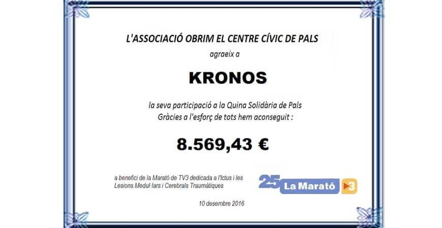 KRONOS colabora con la Quina Solidària de Pals